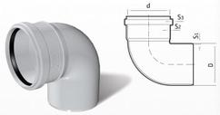 Отвод ПВХ канализационный (87°) 3.2 mm