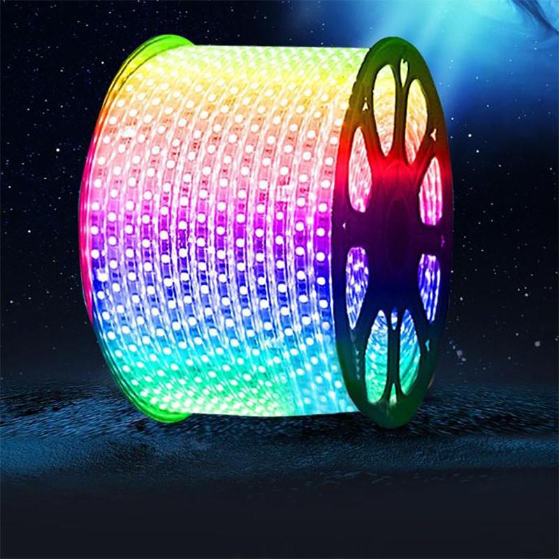 Светодиодная лента (плоский дюралайт) 220v 5050 (RGB) бухта - 100м.