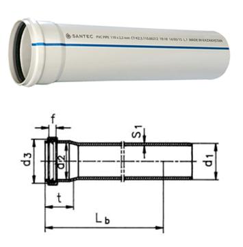 Труба (канализационная) ПВХ SANTEC 50/1000 (2.2) L 1000 мм