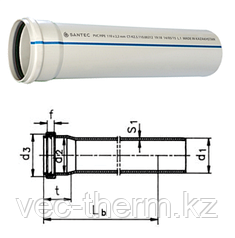 Труба (канализационная) ПВХ SANTEC 75/500 (2.2) L 500 мм, фото 2