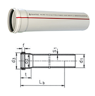 Труба канализационная ПВХ SANTEC 75/250 (3.2) L 250 мм