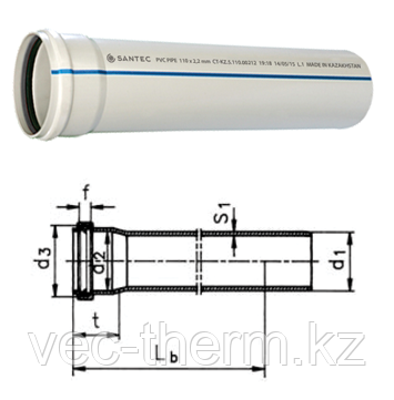 Труба (канализационная) ПВХ SANTEC 75/1000 (2.2) L 1000 мм