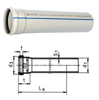 Труба (канализационная) ПВХ SANTEC 100/1000 (2.2) L 1000 мм, фото 2
