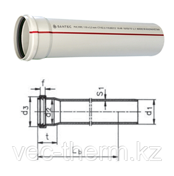 Труба (канализационная) ПВХ SANTEC 100/3000 (3.2) L 3000 мм, фото 2