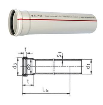 Труба (канализационная) ПВХ SANTEC 125/1000 (3.2) L 1000 мм, фото 2