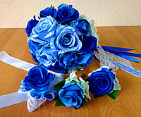 """Свадебный букет-дублёр """"Небесно-синий""""+ комплект бутоньерок (жениху,свидетелю и подружке), фото 1"""