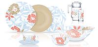Столовый сервиз Luminarc Peony  Floral Blue 46 предметов на 6 персон