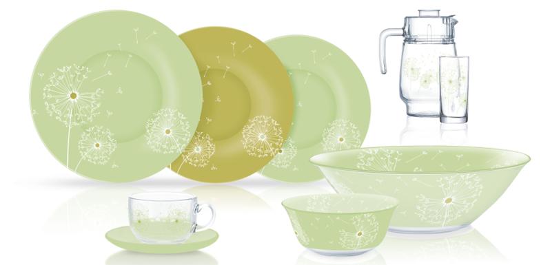 Столовый сервиз Luminarc Mint Dandelion 46 предметов на 6 персон