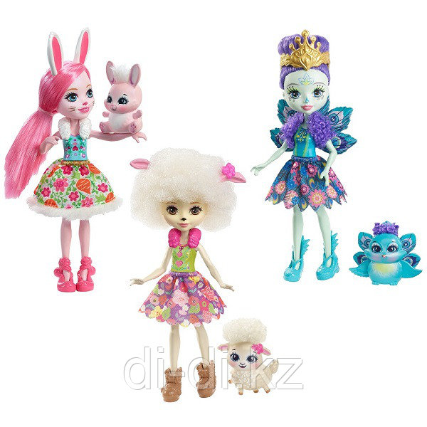 Mattel Enchantimals Набор из трех кукол со зверюшками
