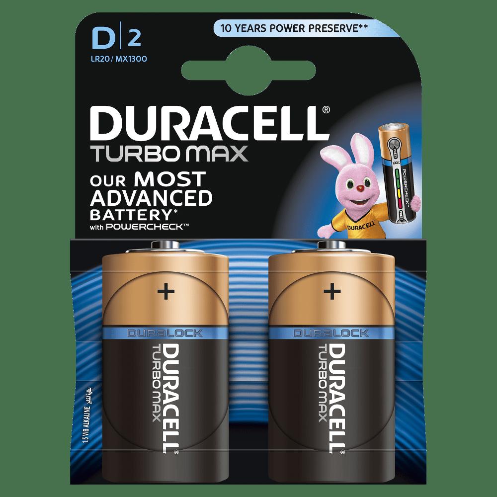 Щелочные батарейки Duracell Turbo Max D