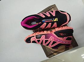 Кроссовки Salomon SpeedCross черно розовые, фото 2