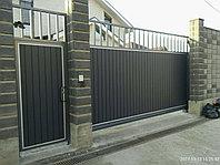 Откатные ворота с калиткой и с автоматикой