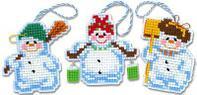 """Набор для вышивания крестом """"Новогодние игрушки. Снеговички"""", фото 1"""