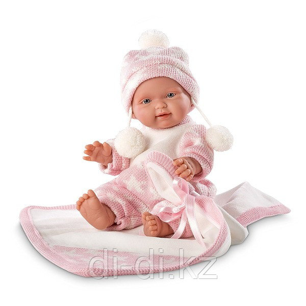 LLORENS Кукла малышка 26 см в шапочке с одеялом, роз.