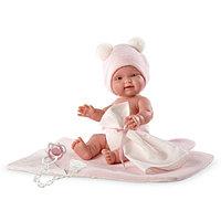 LLORENS Кукла малышка 26 см в шапочке с одеялом, роз., фото 1