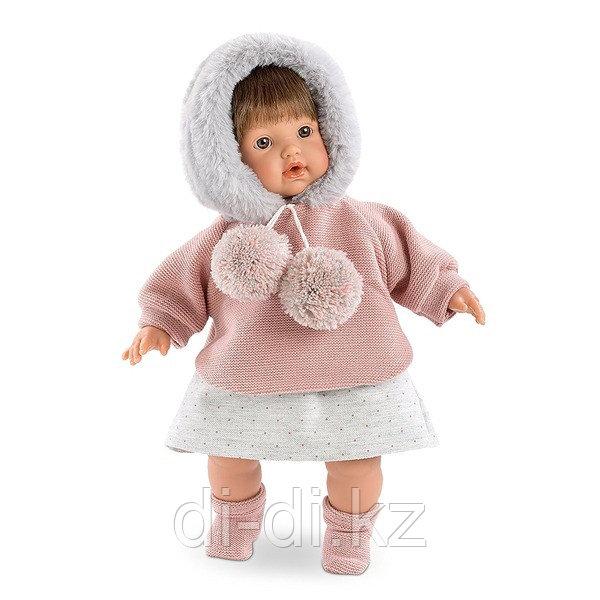 LLORENS Кукла малышка Айсель 33 см брюнетка в меховой шапке
