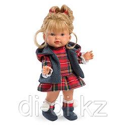 LLORENS Кукла Валерия 28 см блондинка в клетчатом костюме