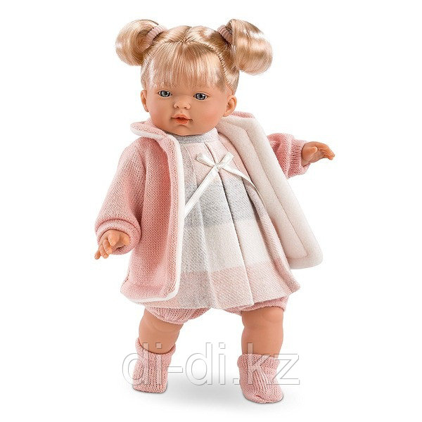 LLORENS Кукла малышка Аитана 33 см блондинка в роз.пальто