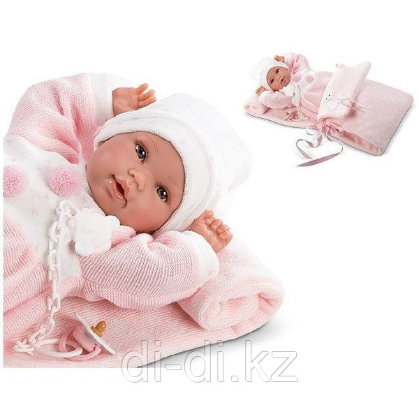 LLORENS Кукла новорожденная малышка 36 см с роз. конвертом