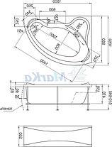 Акриловая ванна Катанья 150*100 (Правая) (Полный комплект) Ассиметричная. Угловая, фото 2