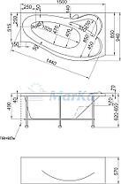 Акриловая ванна Грация 150*90 (Правая) (Полный комплект) Ассиметричная. Угловая, фото 2