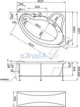 Акриловая ванна Катанья 160*100 (Правая) (Полный комплект) Ассиметричная. Угловая, фото 2
