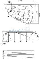 Акриловая ванна Лав 185х135 (Правая) (Полный комплект) Ассиметричная. Угловая, фото 3