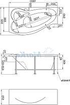 Акриловая ванна Грация 160*95 (Левая) (Полный комплект) Ассиметричная. Угловая, фото 2