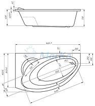 Акриловая ванна Джулианна 160*95 (Левая) (Полный комплект) Ассиметричная. Угловая, фото 2