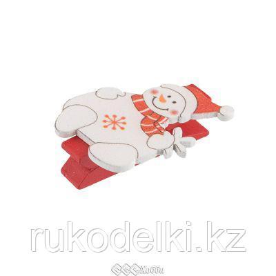 Декоративные прищепки. Снеговик в шарфе