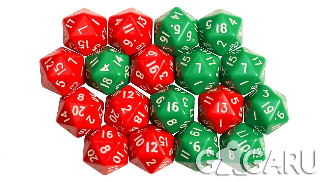 Кубик GaGa D20, зеленый