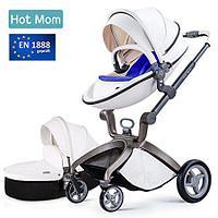 Коляска детская  Hot Mom 2в1 (белая с синим матрасом)