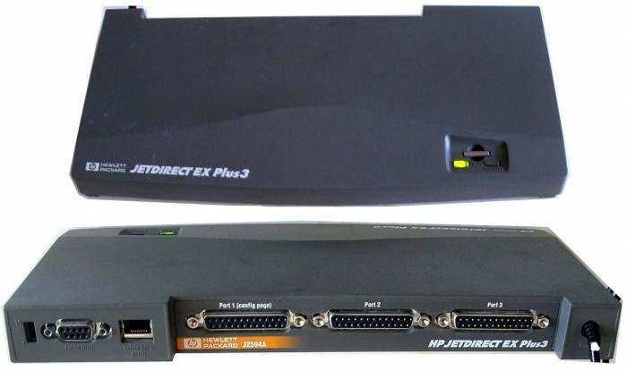 HP J2594A JETDIRECT EX PLUS3 TOKEN RING RJ-45/DB9/3X DB25 PRINT SERVER W/O AC ADAPTER.