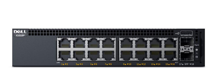 DELL X1018P NETWORKING - SWITCH - 16 PORTS - MANAGED - RACK-MOUNTABLE. NEW RETAIL FACTORY SEALED.