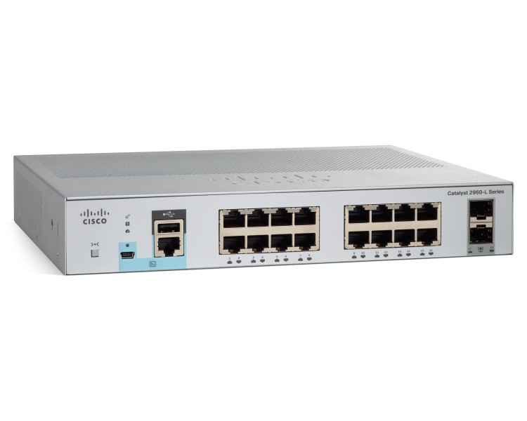 CISCO WS-C2960L-16PS-LL CATALYST 2960L-16PS-LL MANAGED SWITCH - 16 ETHERNET PORTS & 2 GIGABIT SFP UPLINK PORTS. NEW FACTORY SEALED.