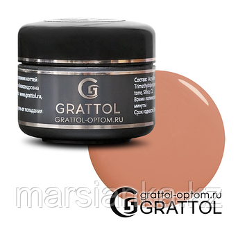 Camouflage Gel Light Natural Grattol (конструирующий гель камуфляж), 15мл, фото 2