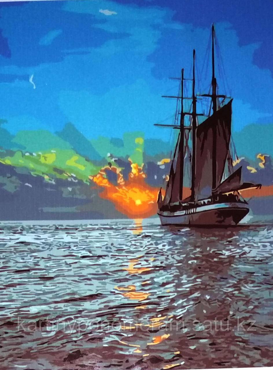 """Картина по номерам """"Закат на море"""""""