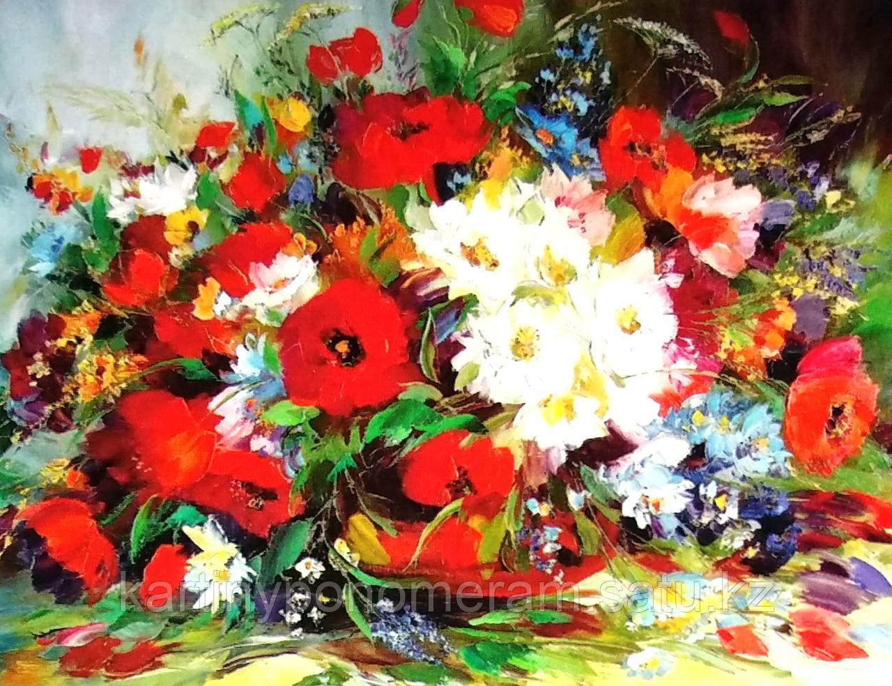 """Картина по номерам """"Маки в букете с полевыми цветами"""""""