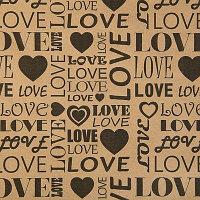 """Бумага упаковочная крафт """"Love"""" 0.7 x 8.5 м (80гр)"""