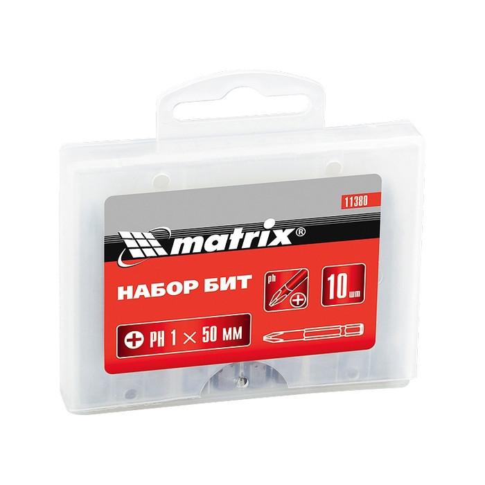 Набор бит Pz1 x 50 мм, сталь 45Х, 10 шт., в пласт. боксе MATRIX