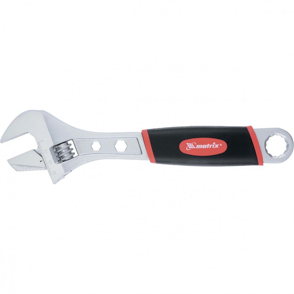 Ключ разводной, 200мм, переставная губка, 2 - х комп.рукоятка MATRIX