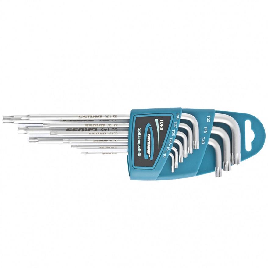 Набор ключей имбусовых TORX-TT, 9 штук: T10-T50, экстра-длинные, S2, сатинированные Gross