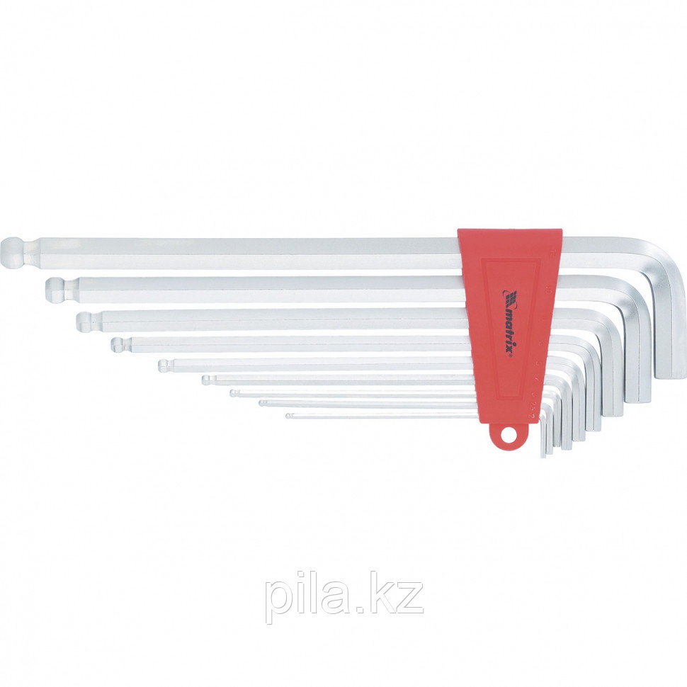 Набор ключей имбусовых HEX, 2–12 мм, CrV, 9 шт., экстра-длин, c шаром, сатин. MATRIX