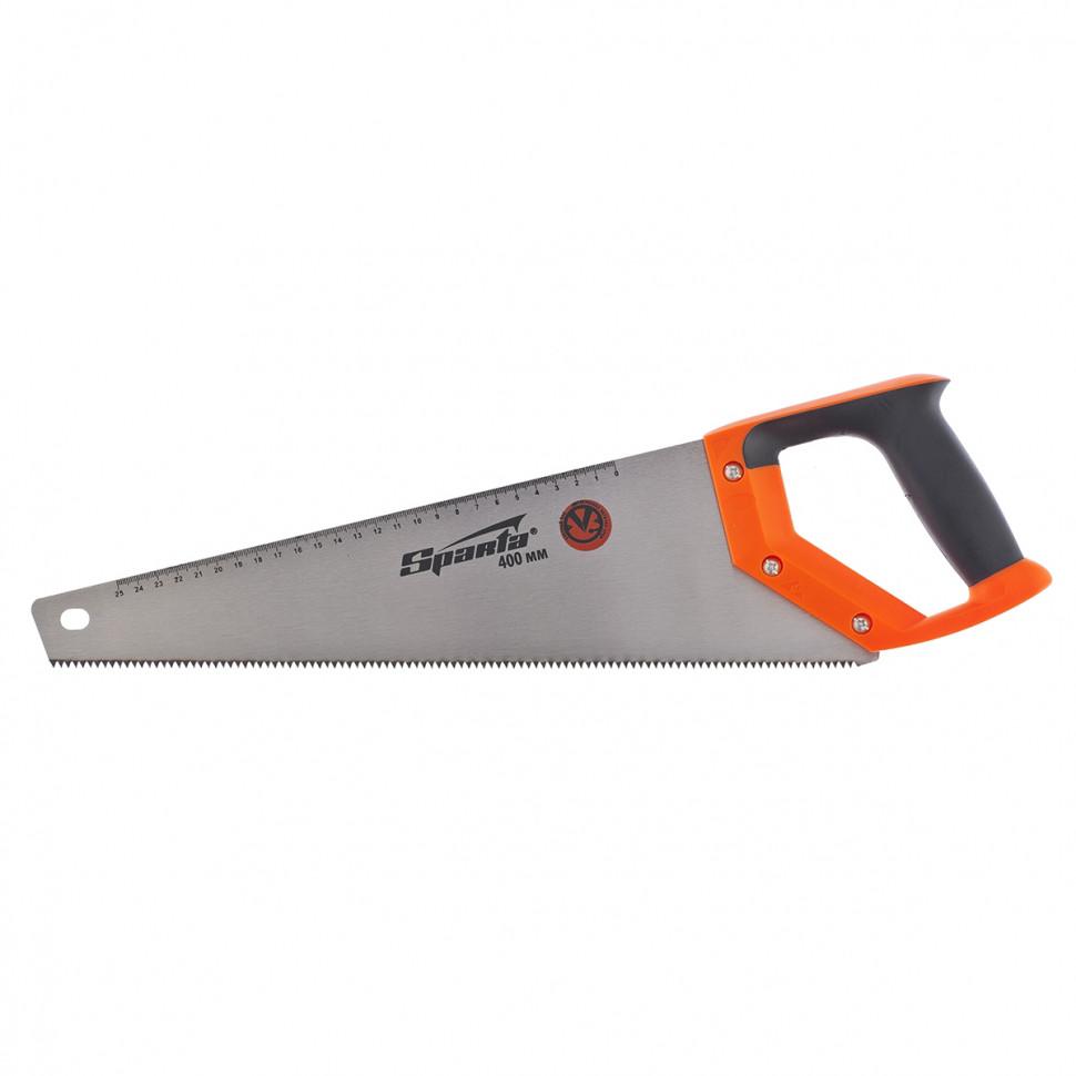 Ножовка по дереву, 400 мм, 7-8 TPI, зуб-2D, каленый зуб, линейка, двухкомпонентная рукоятка SPARTA