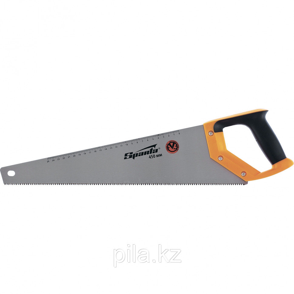 Ножовка по дереву, 450 мм, 7-8 TPI, зуб-2D, каленый зуб, линейка, двухкомпонентная рукоятка SPARTA