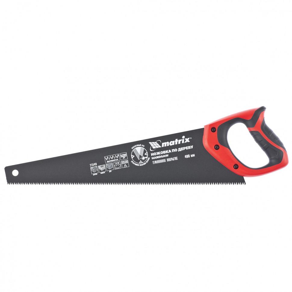 Ножовка по дереву, 400 мм, 7-8 TPI, зуб-3D, каленый зуб, тефлоновое покрытие полотна, двухкомпонентная рукоятка MATRIX