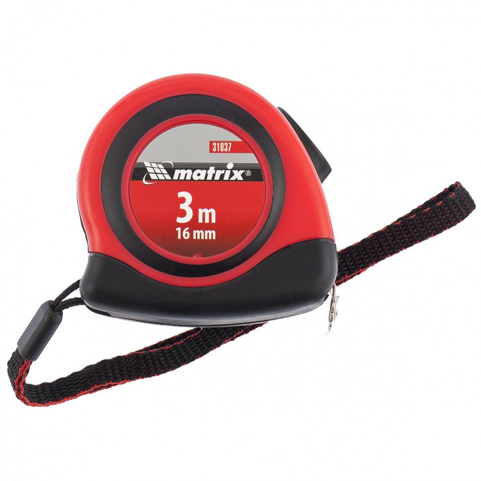 Рулетка Status autostop magnet, 3 м х 16 мм, двухкомпонентный корпус, зацеп с магнитом MATRIX