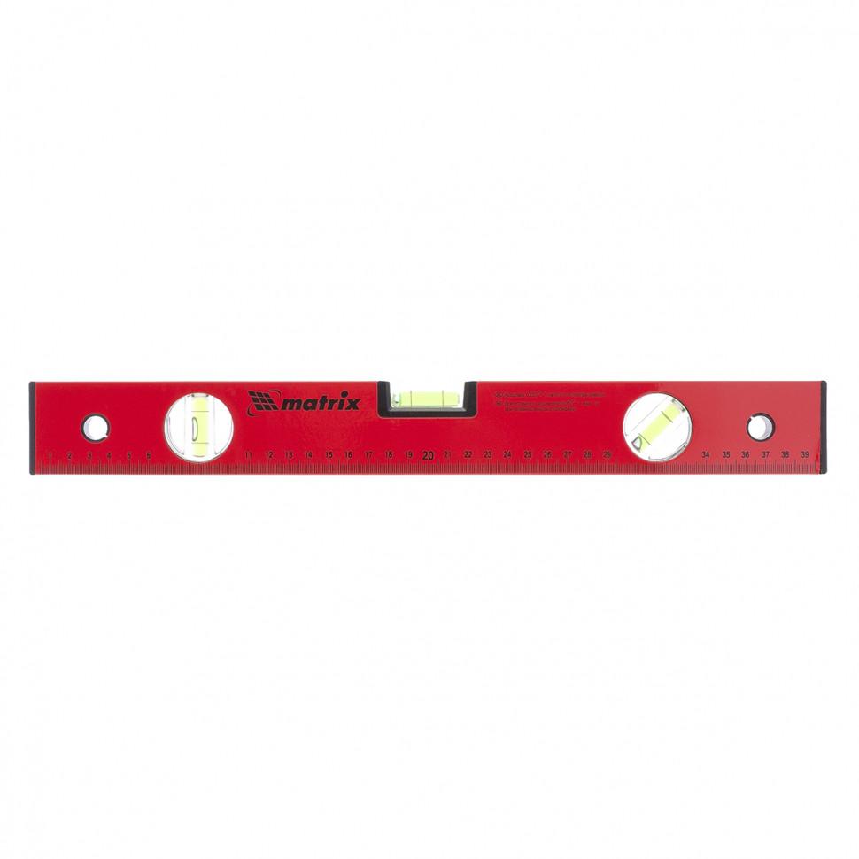 Уровень алюминиевый, 400 мм, 3 глазка, красный, линейка MATRIX