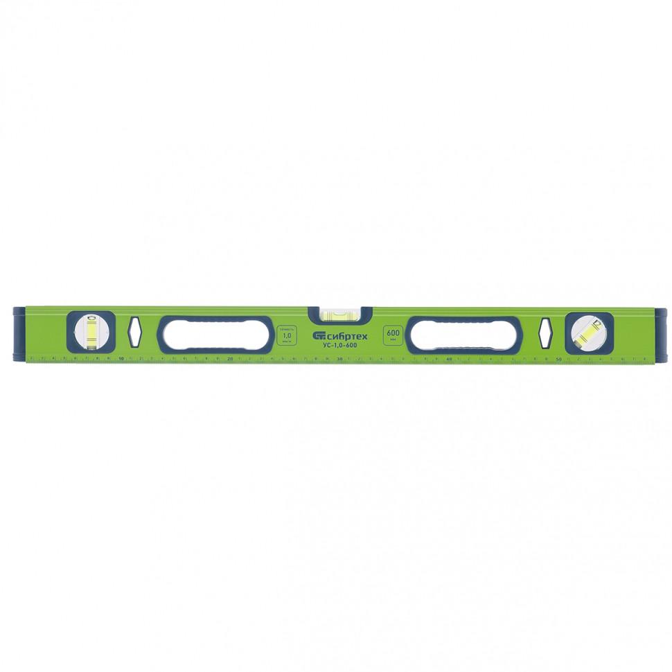 Уровень алюминиевый УС-1,0-600, фрезерованный, 3 глазка, рукоятки, 600 мм СИБРТЕХ