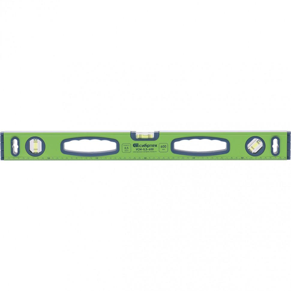 Уровень алюминиевый УСМ-0,5-1000, фрезерованный, 3 глазка, магнитный, рукоятки, 1000 мм СИБРТЕХ